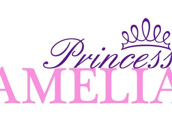 Personalized Princess custom Name  vinyl decal wall art decor removable bedroom decal