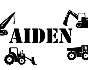 Boys Construction Trucks Personalized  custom Name  vinyl decal wall art decor removable bedroom decal
