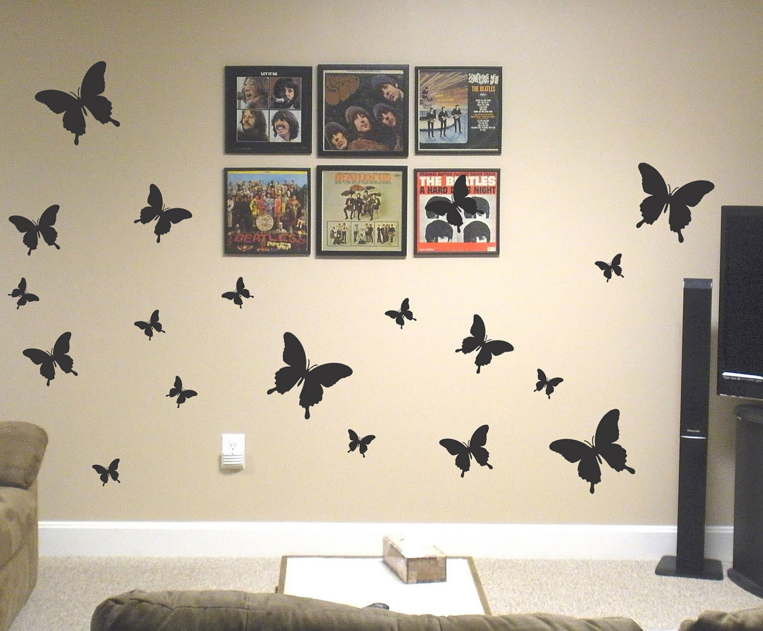 19 removable butterflies vinyl wall art decals bedroom for Bedroom wall art