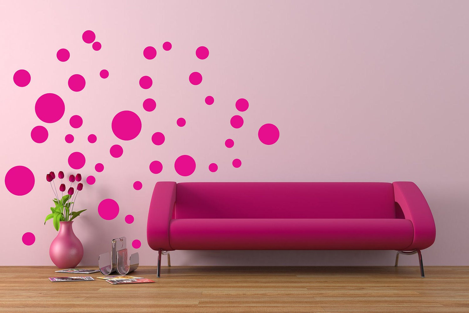 40 polka dots wall decals vinyl wall art wall decals. Black Bedroom Furniture Sets. Home Design Ideas