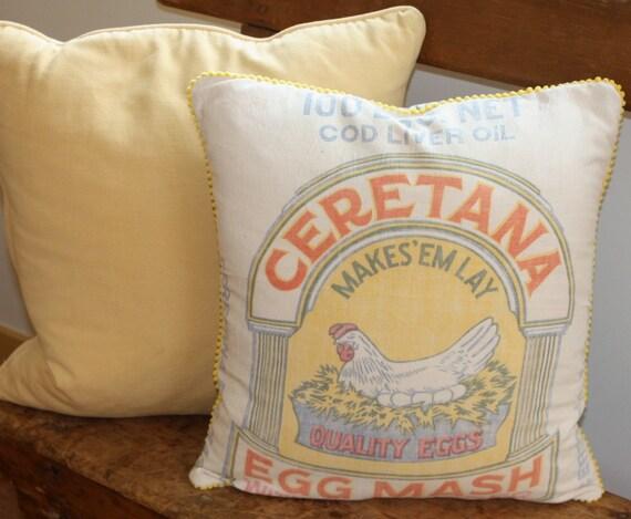 Accent Pillow vintage  grain sack chicken