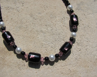 Black Pink Necklace Glass Pearls, Crystals, and Glass Beads