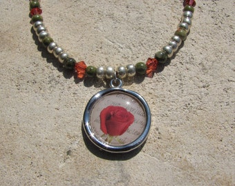 Red Rose Necklace Silver, Jasper, and Red Crystal Beaded