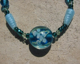 Aquatic Necklace Flower Pond Lotus Pendant on Aqua Teal Glass and Swarovski Crystal Beads