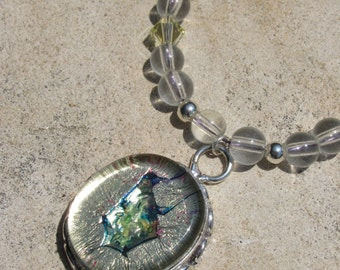 Dichroic Glass Necklace with Crystals Desert Oasis