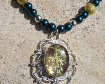 Tinsel Quartz Necklace on Teal Glass Pearls