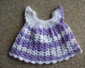 Newborn to Three Months, Baby, Dress,Girls,Gift,Lavender,Purple,White,Crocheted,Babies,Clothing,Photos