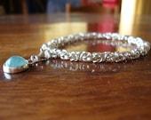 Sterling Silver Byzantine Weave Bracelet with Aquamarine Charm