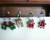 RESERVED For Annett: Wooden Gingerbread Men and Rudolph Christmas Ornaments