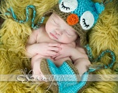 Sleepy Owl Baby Hat Blue and Mocha