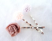 Rose and Dahlia Flower Bobby Pins- Set of 3- Plum, Light Peach, and Lavendar- For Girls, Teenagers, and Women
