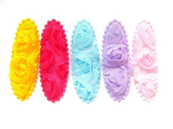 Lace Hair Clip- Set of 5 Lace Hair Clippies- Snap Clips- Infant, Toddler, Child, Teenage, Adult