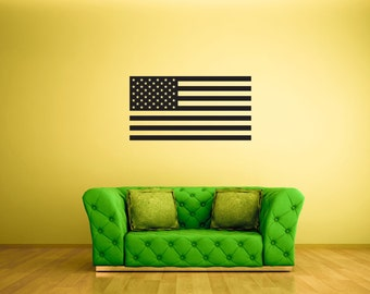 Wall Decal -  Single Color American Flag - Stickers By Creepy Goat Graphics