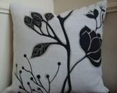 "Decorative Designer Black and White 18 x 18"" Throw Pillow Cover"