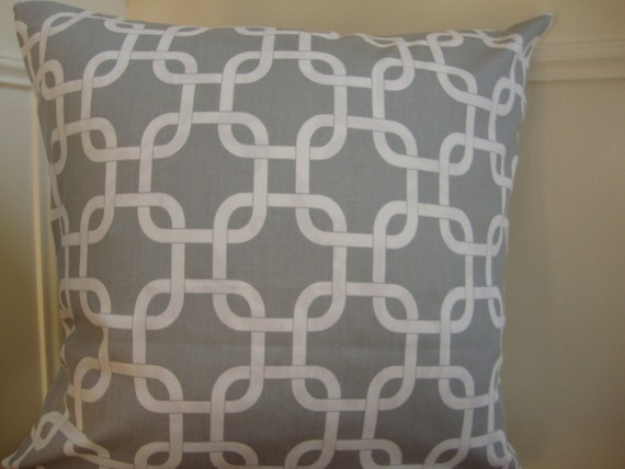 Decorative Designer Grey and White Print Throw Pillow Cover 18 x 18