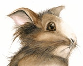 Brown Bunny, Woodland Nursery, Archival Print from Original Watercolor Painting