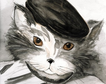 """Neutral Grey Cat LARGE PRINT, Grey Black and Brown, """"PiCATso, The Painter Kitty"""""""