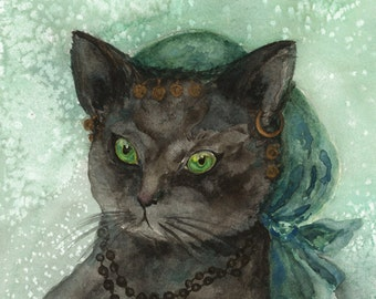 Kitty Art, Black Cat LARGE PRINT, Teal Aqua Black, from Watercolor Painting