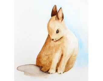 Woodland Nursery, Bunny Rabbit Art, Woodland Animal Print, from Watercolor Painting