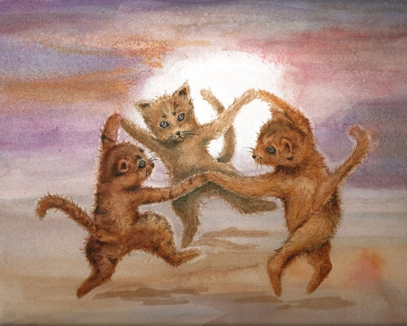 Fall Colors Kittens Print from Watercolor Painting, Dancing by the Autumn Moon, Purple and Gold Art Print from Watercolor