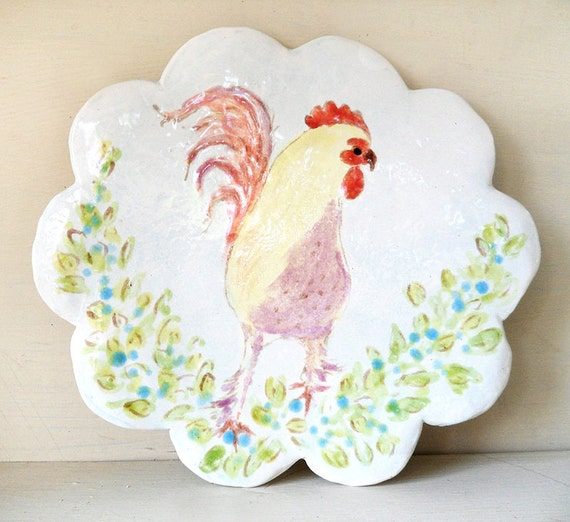 Barnyard Rooster with Blue and Green Flowers - Handmade Porcelain Plate