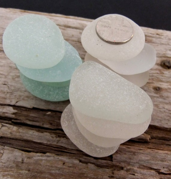 English sea glass, larger, flat clear and seafoam pieces