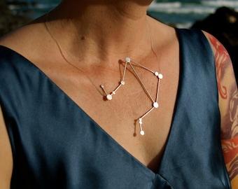 Libra Zodiac Constellation Necklace Sterling Silver