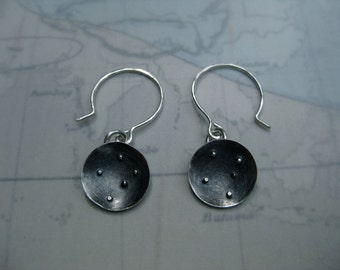 Southern Cross Constellation Disc Earrings Sterling Silver