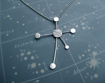 Southern Cross Constellation Necklace Ray Trails Motif Sterling Silver Ball Chain
