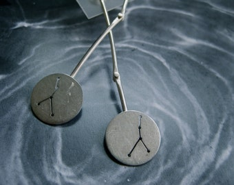 Cancer  Constellation Earrings Sterling Silver Swinging Discs