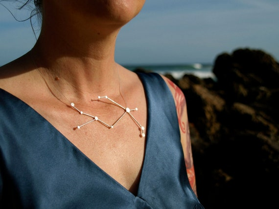 Aries Zodiac Constellation Sterling Silver Necklace on Rubber Cord