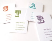 Business card, 100 cards by offset printing, big letter design