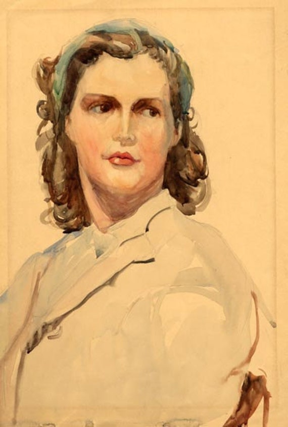 Original Watercolored Portrait from 1940s Woman with Turquoise Scarf