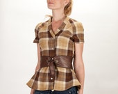 1940s-50s Style Wool Short Sleeve Plaid Peplum Shirt with Faux Leather Belt