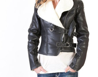 Womens'  Faux Black Leather Sherpa Motorcycle Jacket