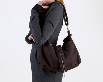 French Roast Brown Wool Hobo Bag Purse with Tailored Pockets