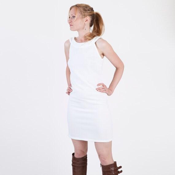 White 60s Style Madmen White Mini Tunic Halter Dress