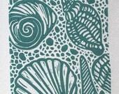 Original seashell linocut