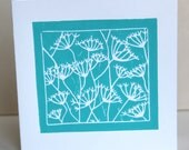 Seed-heads lino-cut greetings card