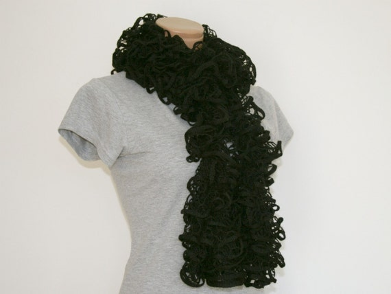 Frilly Ruffle Scarf Black Hand Knitted Katria Triana Style RTS