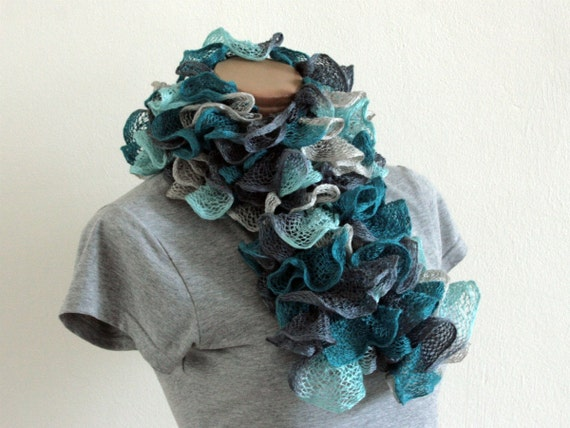 Frilly Ruffle Scarf, Teal Aqua Turquoise Cyan Grey Mixed, Hand Knitted RTS