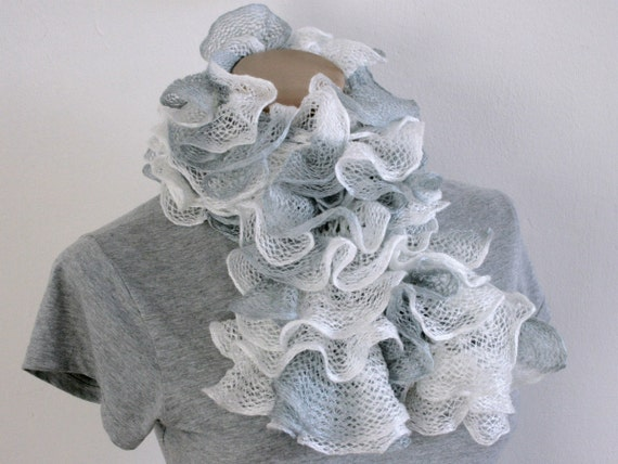 CHRISTMAS SALE Ruffled Scarf, White and Grey, Hand Knitted from Katia Ondas Ruffle Yarn RTS