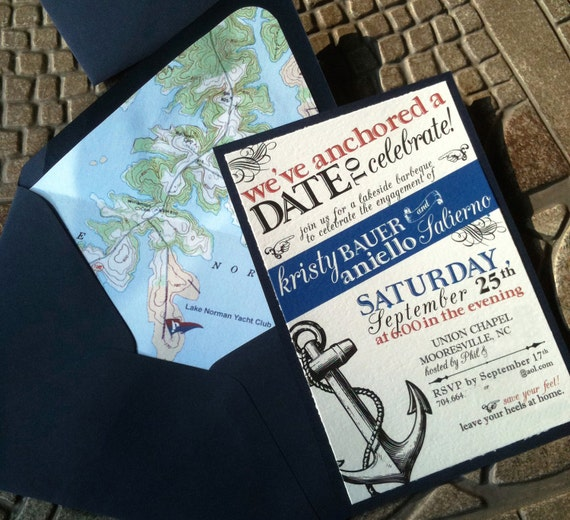 Nautical Save the Date or Engagement Party Invitation - DIGITAL