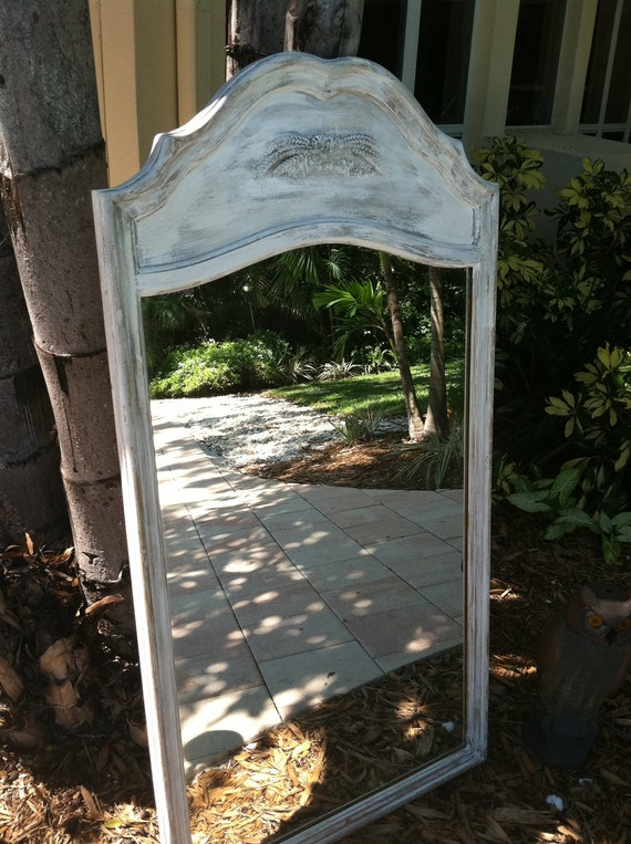 Solid Wood, White, Aged, French Mirror