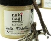 Exfoliating Sugar Body Scrub - VANILLA MILKSHAKE - Sugar Bath Scrub, Paraben free, Handmade Bestseller by Naki Nagi Body Scrubs