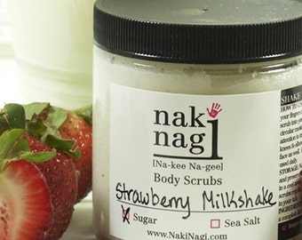 Sugar Body Scrub - Strawberry Milkshake Handmade by Naki Nagi Body Scrubs