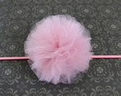 Tulle Headband - Dusty Rose - Clip - pink hair piece