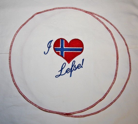 Lefse Cozy for Norwegian Swedish Scandinavian Flatbread Embroidered