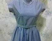 Sale Vintage 1940s Blue Cotton Swing Shirt Day Dress Pastel Blue  Size S M Post WWII Rockability Shabby Chic