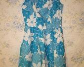 Sale Vintage Funky Blue Floral Dress
